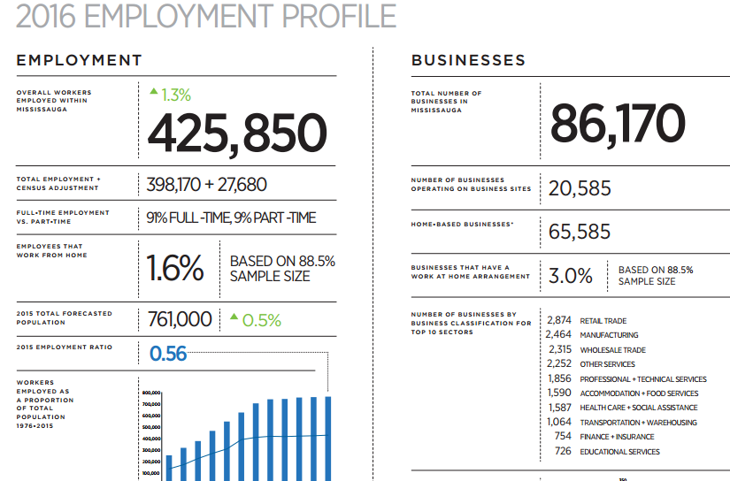 Screen Capture courtesy of City of Mississauga's 2016 EMPLOYMENT PROFILE